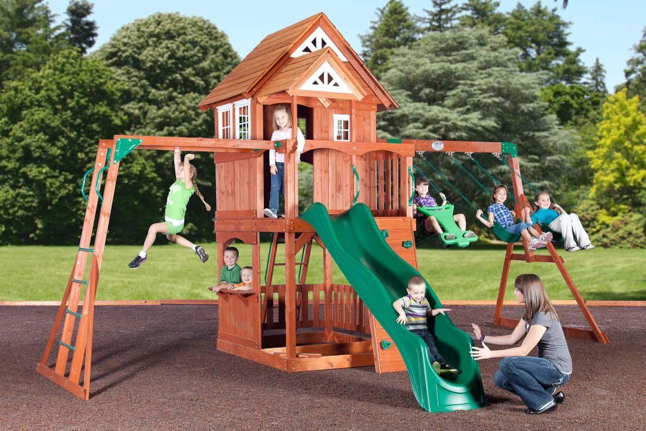 Детская площадка с домиком своими руками фото